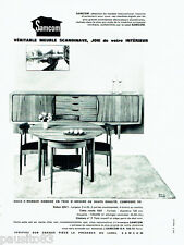 PUBLICITE ADVERTISING 086  1964  Samcom  meuble Scandinave en teck  salle manger