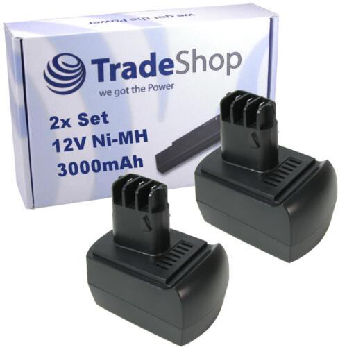 2x Trade-Shop Akku 3000mAh 12V Ni-MH für Metabo BSZ12m Impuls Schlagbohrer SSP12