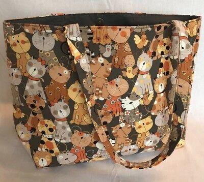 Brown//Grey Cats Kittens Knitting Bag Tote Shopping Bag Gift Hobby Sewing Yarn