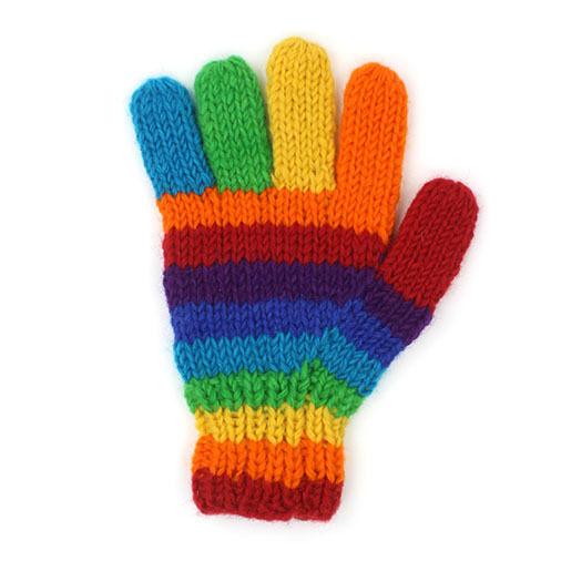 FairTrade Rainbow stripe warm winter Wooliy gloves 100% Pure Wool Himalayan made