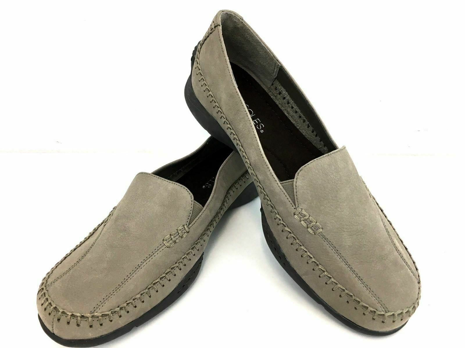 Aerosoles shoes 9 Taupe Women's Leather Stitch Detail Slip On Loafers