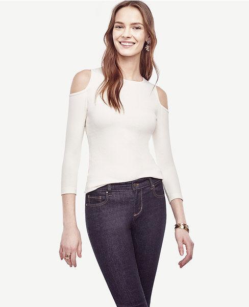 Ann Taylor - XXL Winter White Silk Cotton Cold Shoulder Sweater  (18)