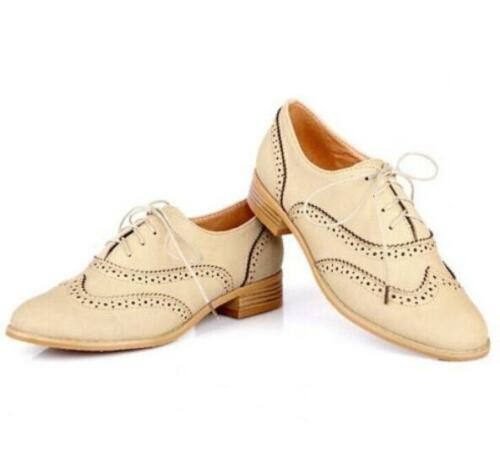 Women England brogues Lace Up  Tip Oxford College Round Toe Flat heels Shoes
