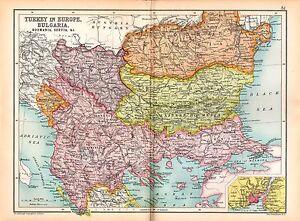 1909 Map Turkey In Europe Bulgaria Romania Servia Montenegro