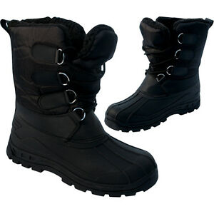 MENS-BLACK-SNOW-BOOTS-WATERPROOF-MUCKER-THERMAL-WELLINGTONS-FUR-SKI-WINTER-BOYS