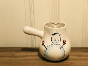 Rae-Dunn-Christmas-By-Magenta-Snowman-Let-It-Snow-Ceramic-Hot-Cocoa-Pot-VHTF