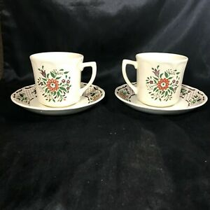 Pair-of-Vintage-JOHNSON-BROS-Fleur-L-039-Orange-Cups-and-Saucers