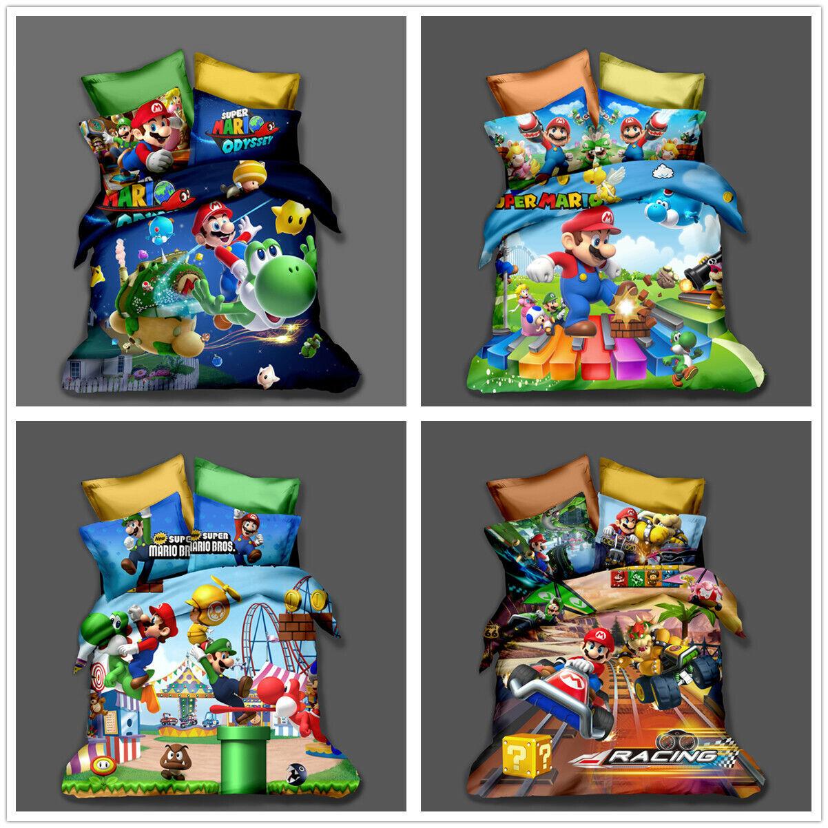 3D Super Mario Bros. Kids Duvet Cover Set Pillowcase Quilt Cover Comforter Cover
