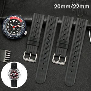 20mm-22mm-Black-Divers-Silicone-Rubber-Waffle-Watch-Strap