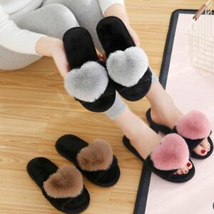 Slippers Confident Ladies Women Flat Fur Fluffy Sliders Slippers Comfy Sandals Flip Flop Shoes Size