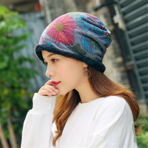 Frauen Ethnische Baumwolle Beanie Hut Elastische Warme Winter Turban Schal