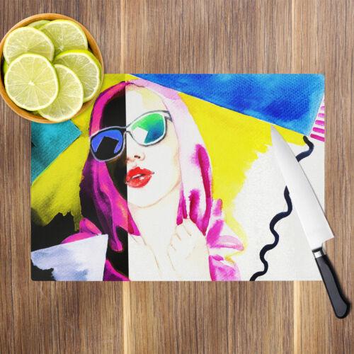Retro Colourful Girl Glass Chopping Board Kitchen Worktop Saver Protector