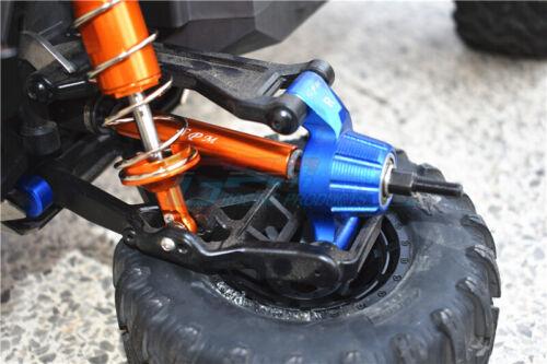 Traxxas-Maxx-HARDEN STL+ALUM +2MM -Blue CVD DRV SHFT+HEX ADAPTER FRNT//REAR ADJ