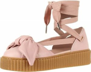 best loved c92a3 5facf Details about New Fenty Puma Sandals 8.5 Pink Leather Bow Creeper Shoes  Lace Up