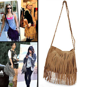 Image Is Loading Vintage Women 039 S Faux Suede Fringe Tassels
