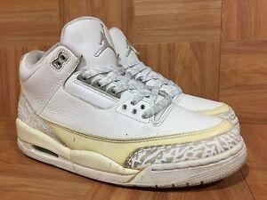 4221c760ce0c65 Used🔥 Nike Air Jordan 3 Retro PURE Money White Metallic Silver 9.5 ...