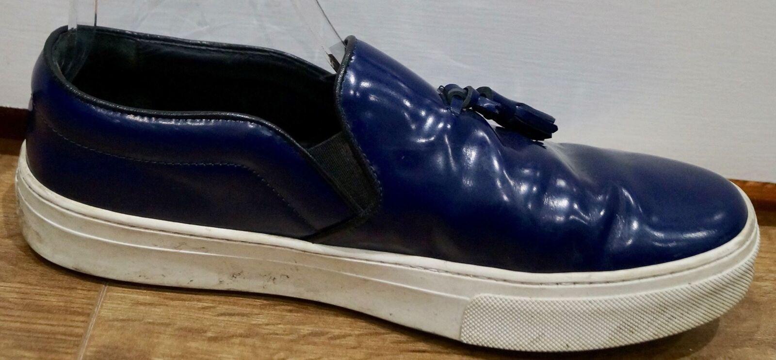 CELINE PARIS Blau Leder Sneakers Tassel Front Weiß Rubber Sole Casual Sneakers Leder Trainer 4a5bde