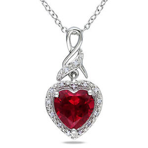 Sterling-Silver-Gemstone-and-Diamond-Heart-Pendant-Necklace