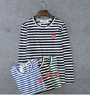 STRIPED MEN'S WOMEN COMME DES GARCONS CDG PLAY RED HEART LONG SLEEVE T-SHIRT