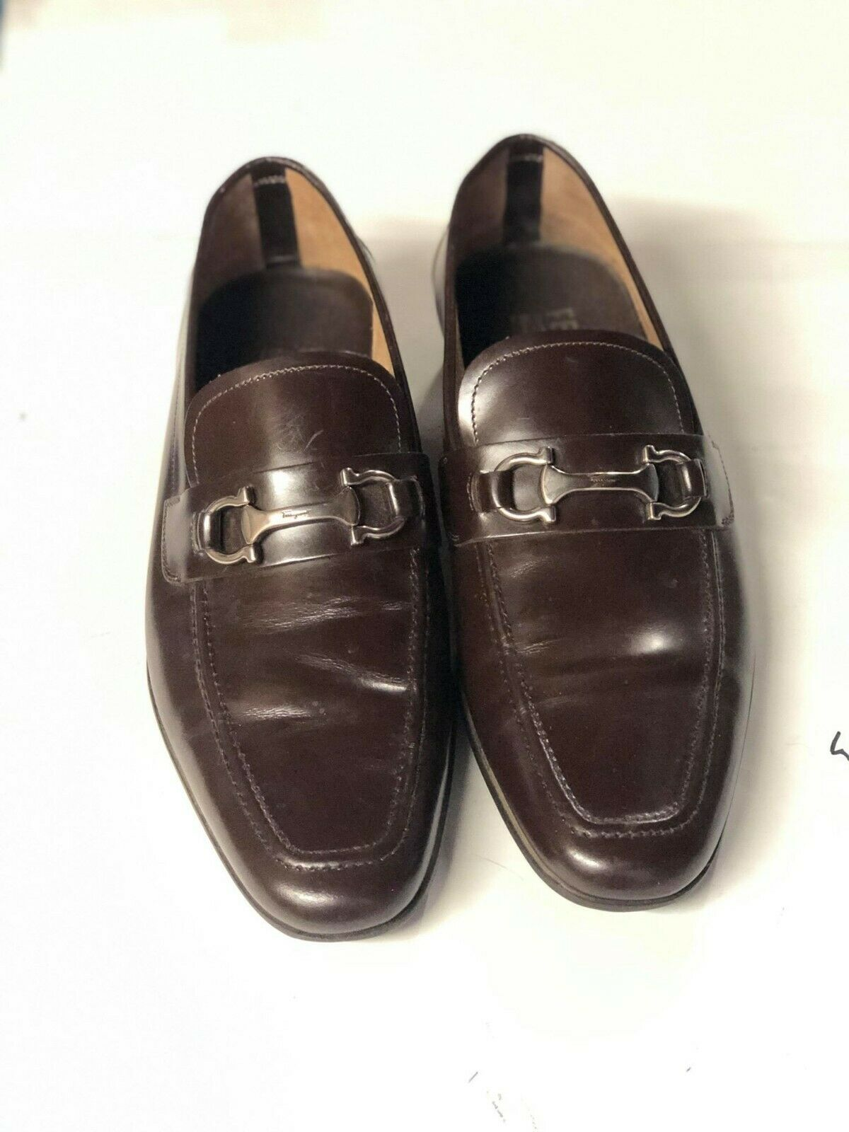 SALVATORE FERRAGAMO Wine Leather Panfilo Loafers shoes Size 8  27  525