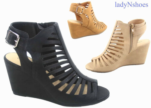 NEW Women/'s Open Toe Cage Buckle Zipper Wedge Gladiator Sandals Shoes Size 5-11