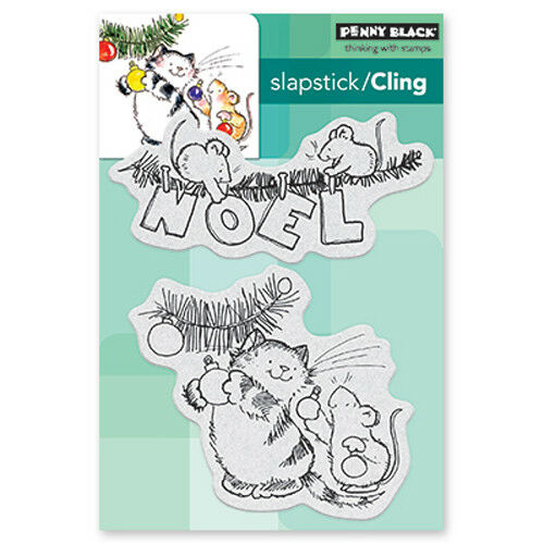 New Penny Black GETTING READY Slapstick Cling Rubber Stamp Christmas Holiday