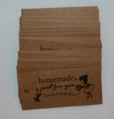 10//25//50 /'HOMEMADE just for you HANDMADE /' BROWN PAPER TAGS #CRAFTS// KNITTING