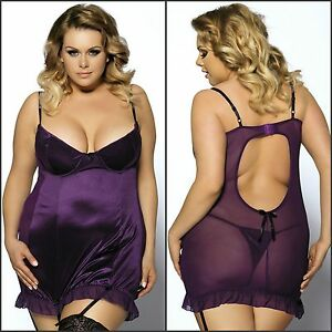 a3653f760a 3PC Women s Plus Size Purple Burlesque Chemise Babydoll   Garter ...