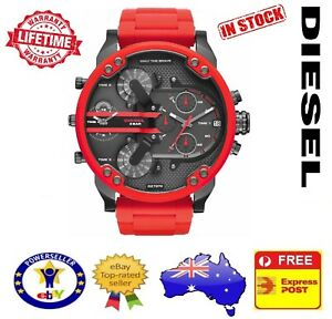 8eab21c72389 DIESEL DZ7370 MR DADDY 2.0 RED Multiple Time Zone Chronograph Mens ...