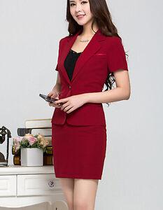 25f16006ba45 Caricamento dell immagine in corso Elegante-Tailleur-completo-donna-rosso- giacca-manica-corta-