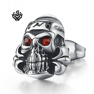Silver stud red crystal stainless steel skull gothic SINGLE earring tension back