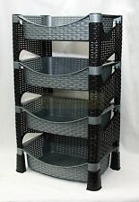 Stylish Galaxy HQ 4 Tier Plastic Fruit Vegetable Kitchen Storage Rack Trolley GS