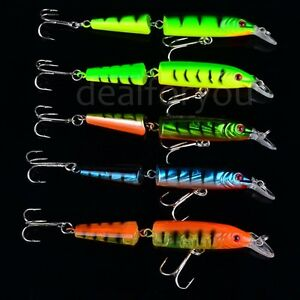 Lot-5pcs-Double-Section-Bionic-Fishing-Lure-Crank-Bait-Tackle-Bass-Hook