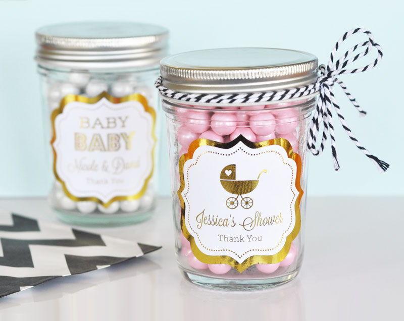96 Personalized Metallic Foil Baby Theme Mini Mason Jars Baby Shower Favors