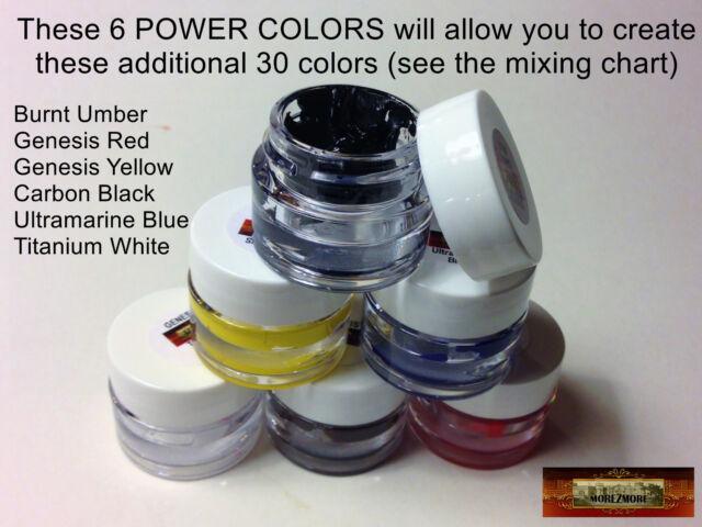 M00125 MOREZMORE Genesis Heat-Set Paints 6 Power Colors Set Survival Kit T20