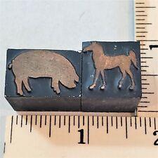 2 Pcs Vintage Copper Amp Wood Letterpress Print Blocks Pig Amp Horse Silhouette Pb58