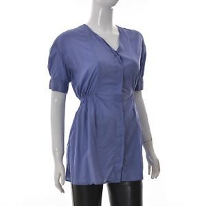 Acne lady Womens 38 Swank Short Sleeve Bleached Denim Top Ruched blue Genuine