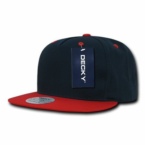 Navy Blue Red 5 Panel Cotton Flat Bill Snapback Baseball Ball Cap Hat