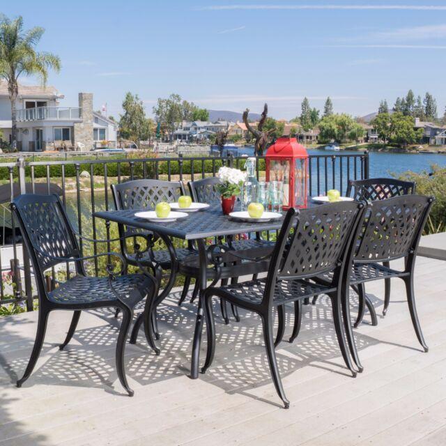 Outdoor 7 Piece Cast Aluminum Black Sand Dining Set
