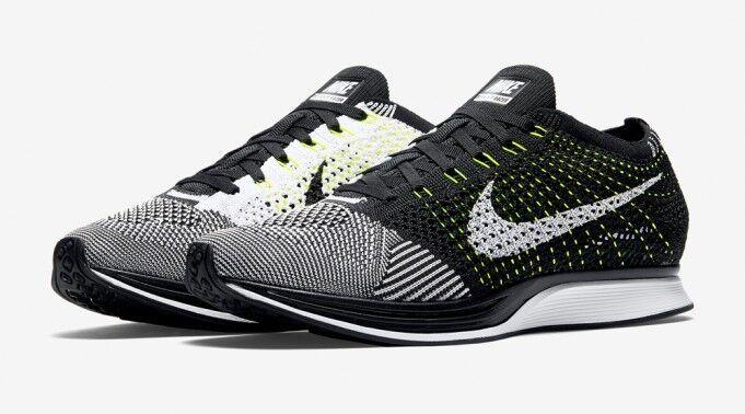 "Nike Flyknit Racer  Volt"" Men Running shoes Sz 11.5 us 526628-011"