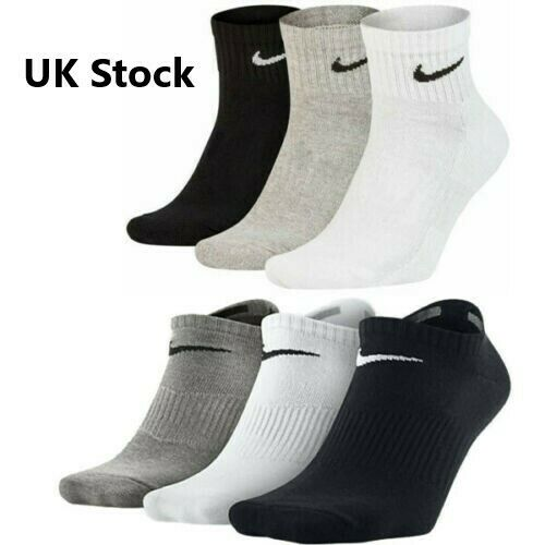 NIKE Socks Mens Womens Quarter Ankle Cotton No Show Trainer Sports Socks Lot