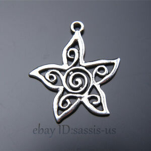 20-pieces-30mm-charms-star-flower-Tibetan-Silver-DIY-Jewelry-Making-A7462