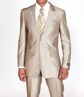Men's 2 Piece Slim Fit Luxurious Wool Feel Suit 2 Button by Milan Moda  57021B