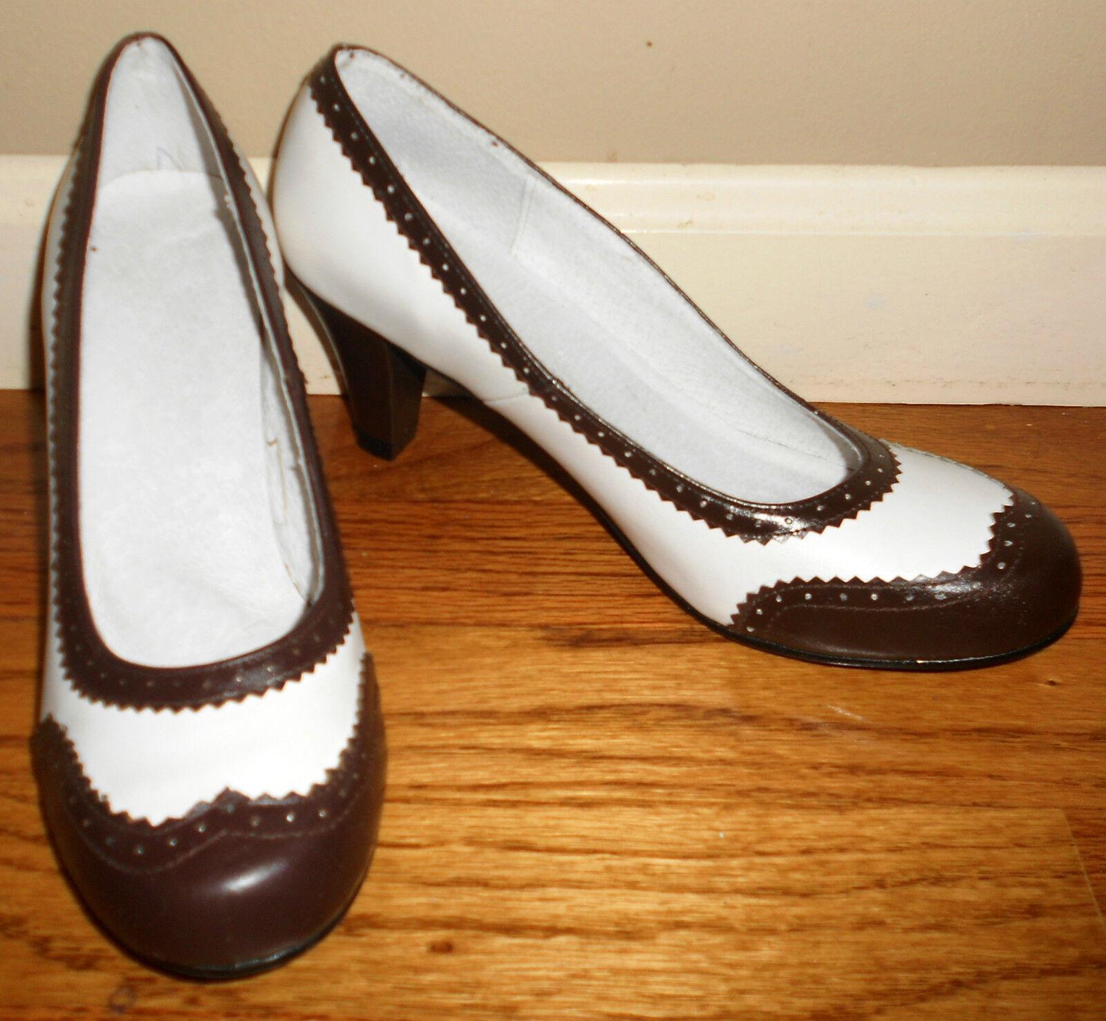 Reproduction 1940s Women White & Brown Spectator Pumps Shoes Sz 8 9 10