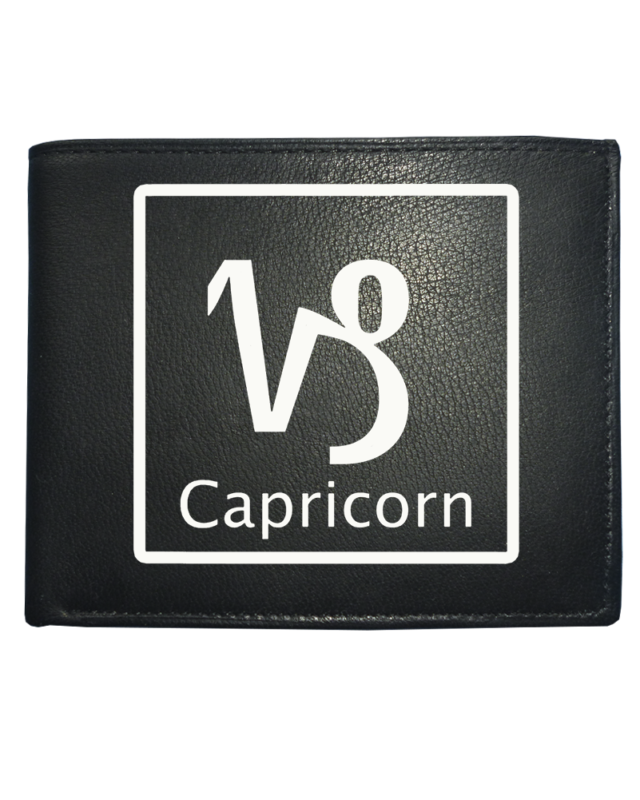 Capricorn 'the Goat' Horoscope Earth Sign - Astrological Symbol Leather Wallet