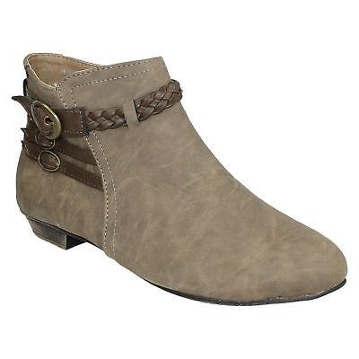 Mujer f50069 Cremallera Zapatos Hebilla Bajos Invierno Botines Ajustadas
