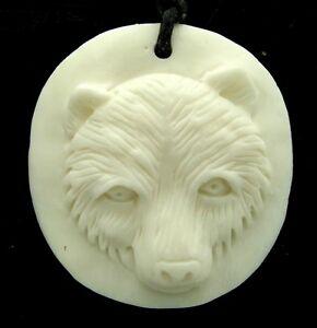 Details about Bear Native American Style Spirit Animal Water Buffalo Bone  Pendant Necklace