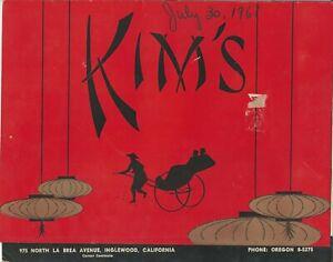 Vintage KIM'S CHINESE AND AMERICAN Restaurant Menu Inglewood California 1961