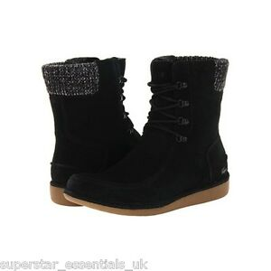 047077548d0d3 B BNIB Lacoste Womens Alyson Suede Boot Shoe Textile Black All Sizes ...