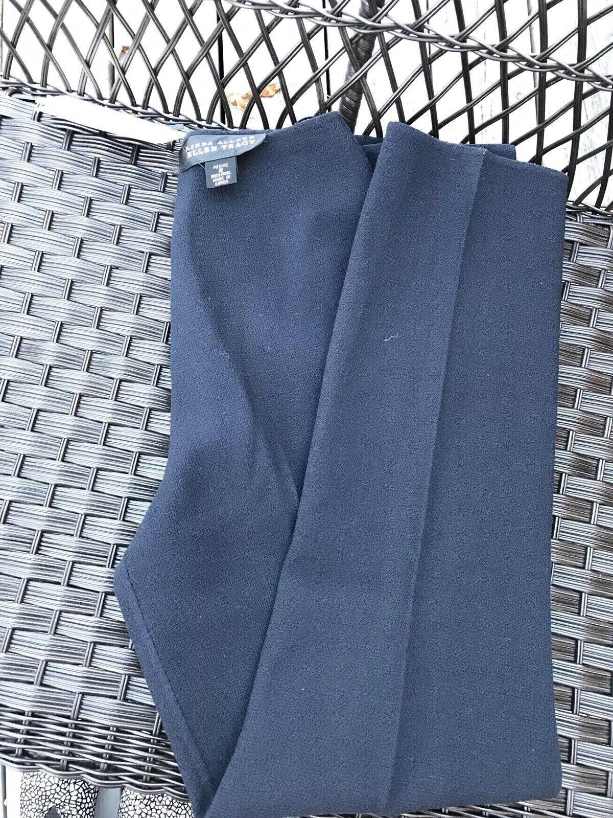 New Linda Alard Ellen Tracy pants 2p petite 100% wool navy   355